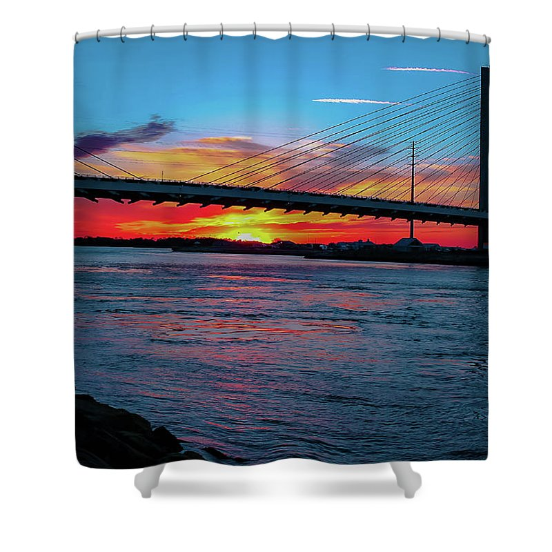 Sunsets Shower Curtain featuring the photograph Beautiful Sunset Under The Bridge by Amy Bishop