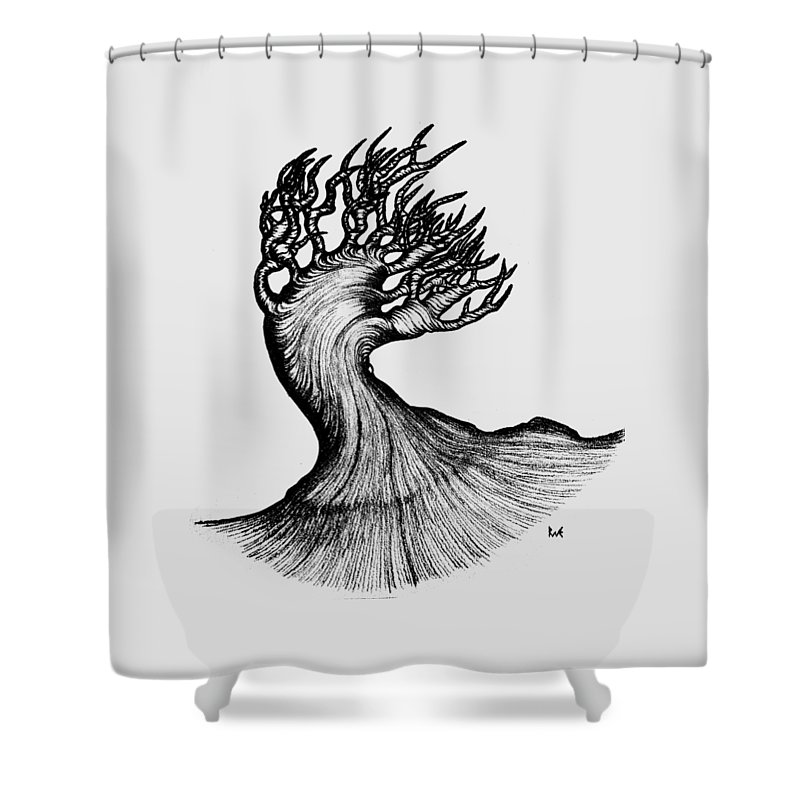 Landscape Shower Curtain featuring the digital art Beautiful Tree In Color Nature Original Black And White Pen Art By Rune Larsen by Rune Larsen