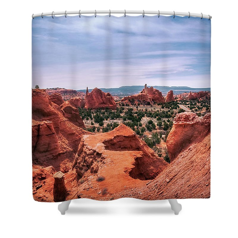 Bryce Shower Curtain featuring the photograph Beautiful View From Above At Kodachrome Basin State Park by Daniela Constantinescu