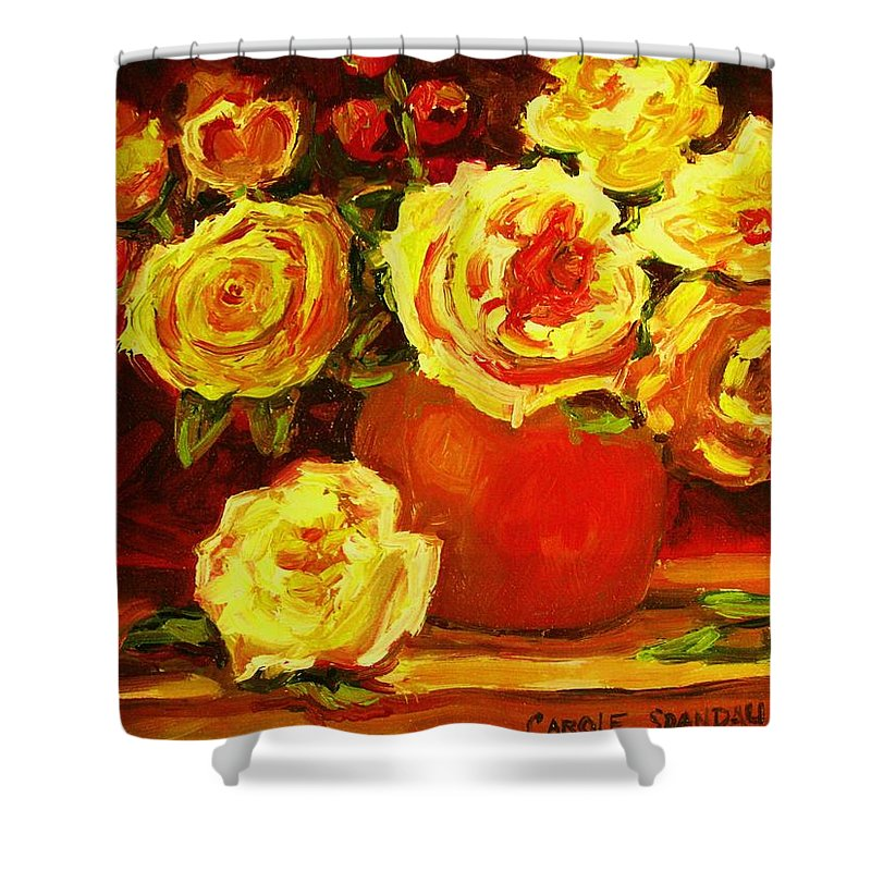 Roses Shower Curtain featuring the painting Beautiful Yellow Roses by Carole Spandau