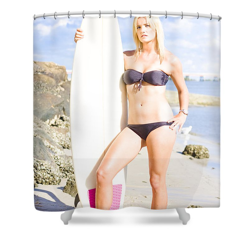 Attractive Shower Curtain featuring the photograph Beautiful Young Blond Surf Woman by Jorgo Photography - Wall Art Gallery
