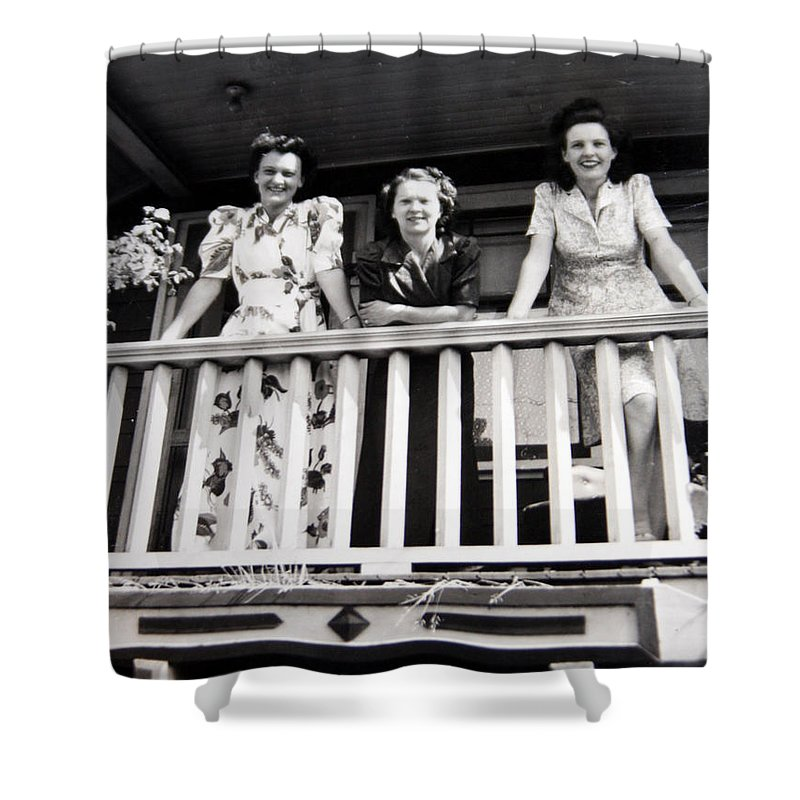 Ladies Women 1950s Classic Black And White Photography Shower Curtain featuring the photograph Beauty And Balconies by Andrea Lawrence
