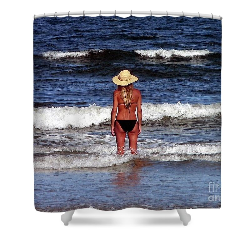 Blonde Shower Curtain featuring the photograph Beauty And The Beach by Al Powell Photography USA