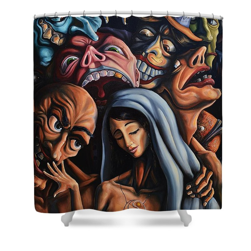 Surrealism Shower Curtain featuring the painting Beauty and the freaks by Darwin Leon