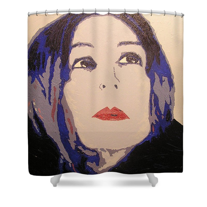 Portrait Shower Curtain featuring the painting Beauty Beyond the Blue by Ricklene Wren