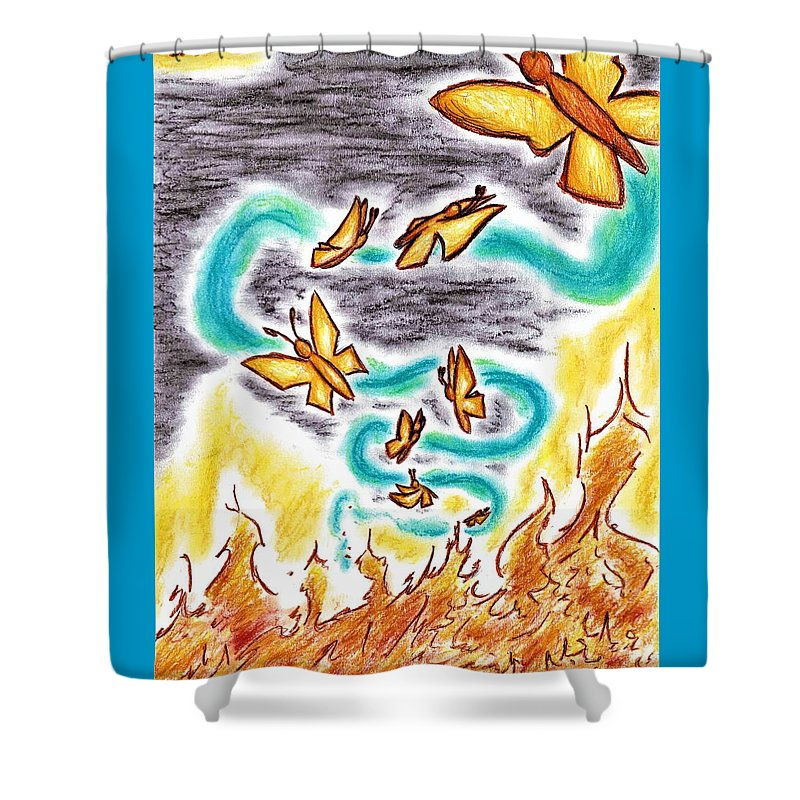 Butterflies Shower Curtain featuring the drawing Beauty From Ashes by Bryant Lamb
