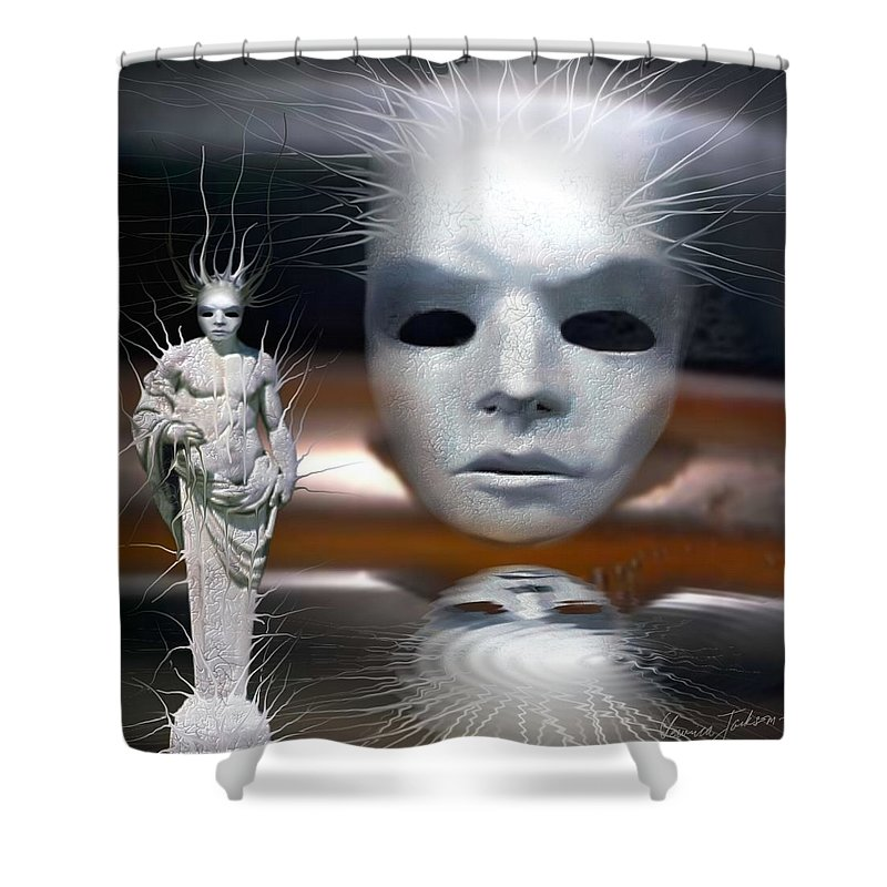 Digital Beauty Eyes Water Shower Curtain featuring the digital art Beauty Is Invisible To The Eye. by Veronica Jackson