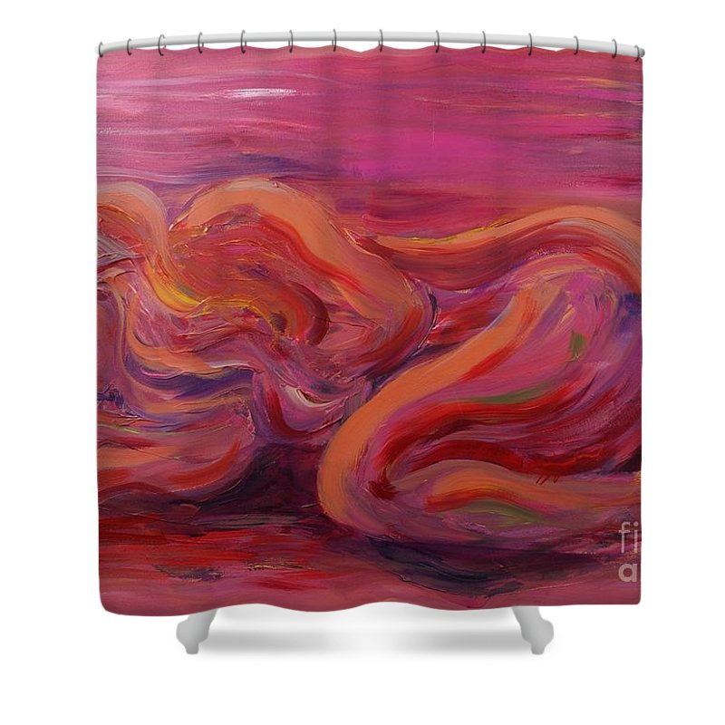 Nude Shower Curtain featuring the painting Beauty by Nadine Rippelmeyer