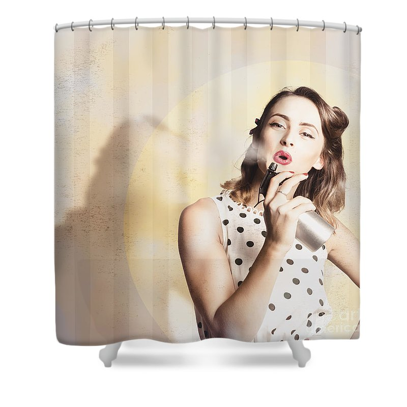 Salon Shower Curtain Featuring The Photograph Beauty Parlour Pinup By Jorgo Photography