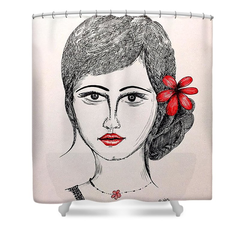 Woman Face With A Nice Hair Bun And Red Flower Shower Curtain featuring the drawing Beauty by Pushpa Sharma