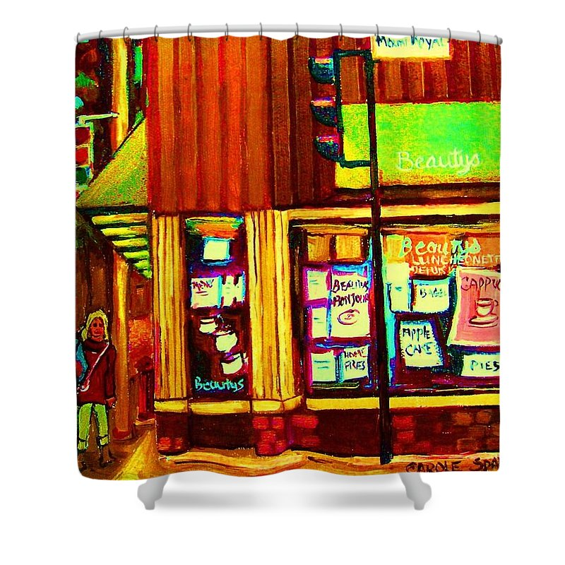 Beautys Restaurant Shower Curtain featuring the painting Beautys Famous Mishmash by Carole Spandau