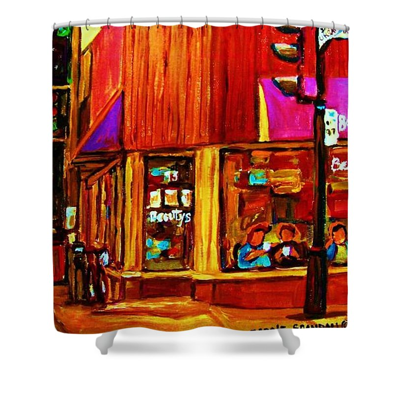 Beautys Restaurant Montreal Shower Curtain featuring the painting Beautys Luncheonette by Carole Spandau