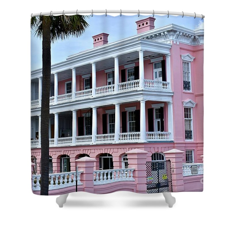 Beautiful Home Shower Curtain featuring the photograph Beauutiful Pink Colonial Style Mansion by Jeramey Lende