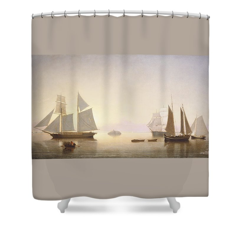 Art Shower Curtain featuring the painting Becalmed Off Halfway Rock by Fitz Henry Lane