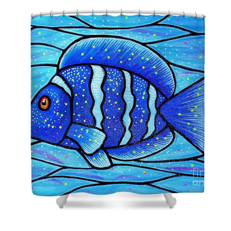 Tropical Fish Shower Curtain featuring the painting Beckys Blue Tropical Fish by Jim Harris