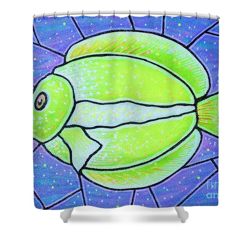 Tropical Fish Shower Curtain featuring the painting Beckys Yellow Tropical Fish by Jim Harris