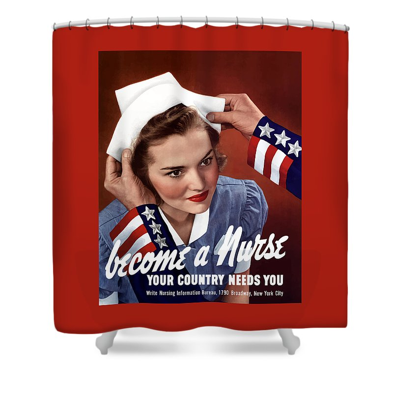 Uncle Sam Shower Curtain featuring the painting Become A Nurse -- Ww2 Poster by War Is Hell Store