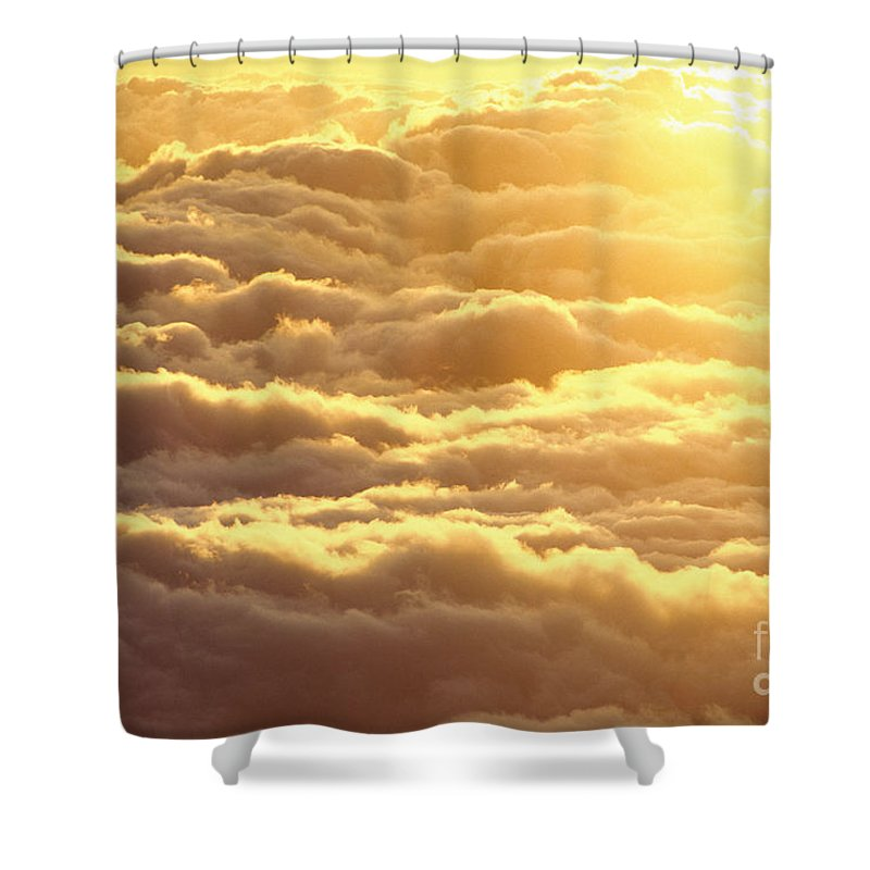 Afternoon Shower Curtain featuring the photograph Bed Of Puffy Clouds by Carl Shaneff - Printscapes
