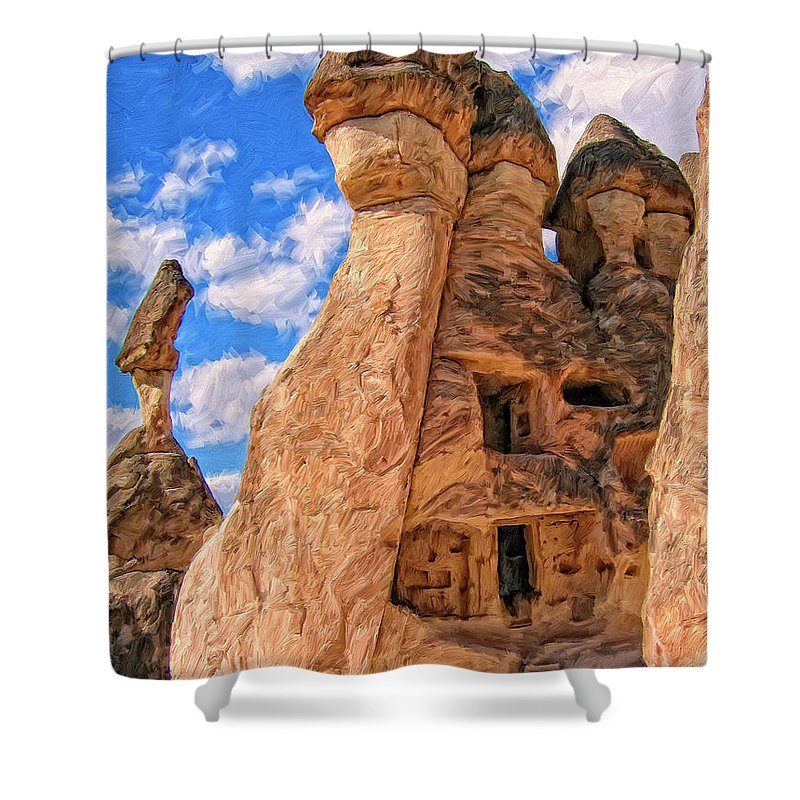 Bedrock Estates Shower Curtain featuring the painting Bedrock Estates by Dominic Piperata