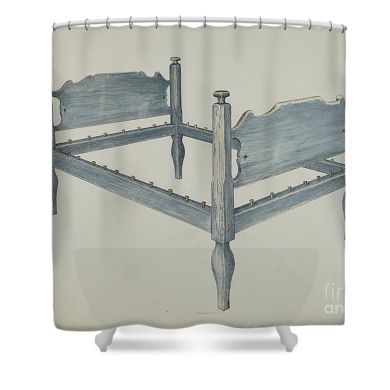 Shower Curtain featuring the drawing Bedstead by Robert Gilson