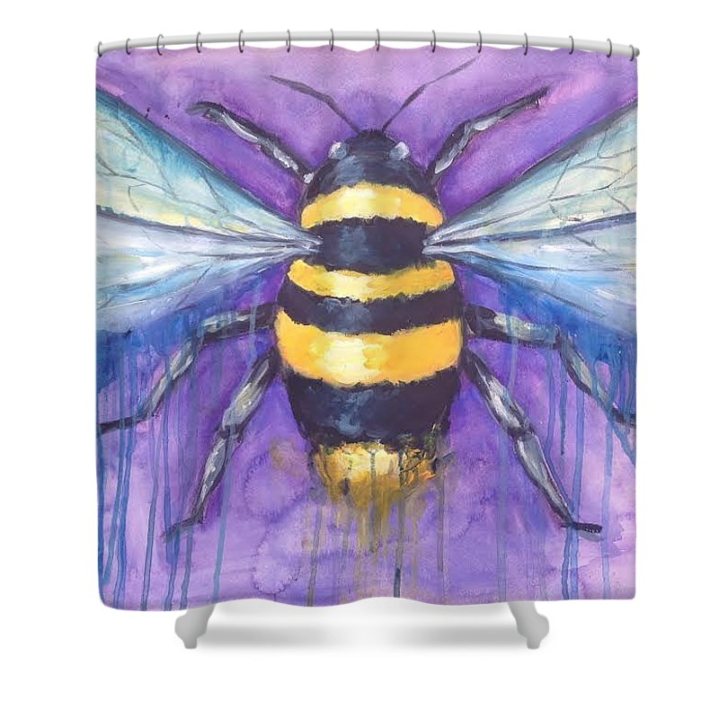 Bee Shower Curtain featuring the painting Bee For A Little Bee by Kelly Margo