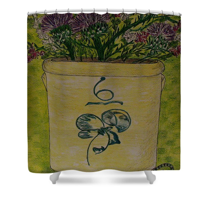 Bee Sting Crock Shower Curtain featuring the painting Bee Sting Crock With Good Luck Bow Heather And Thistles by Kathy Marrs Chandler