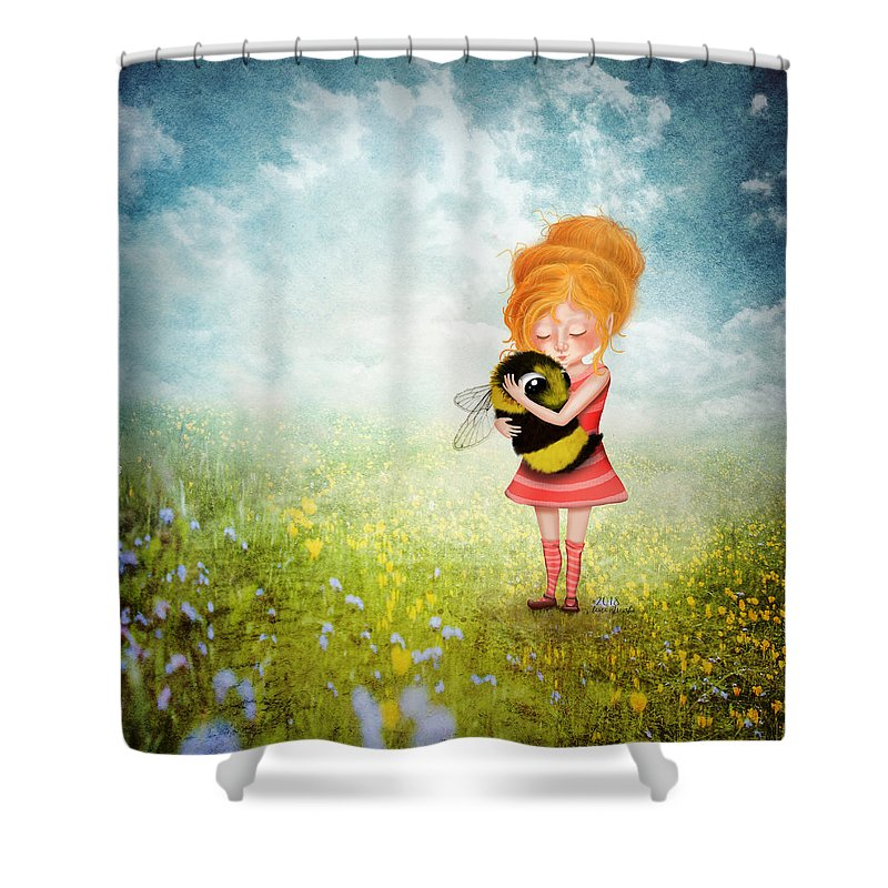 Bee Shower Curtain featuring the digital art Bee Whisperer by Laura Ostrowski