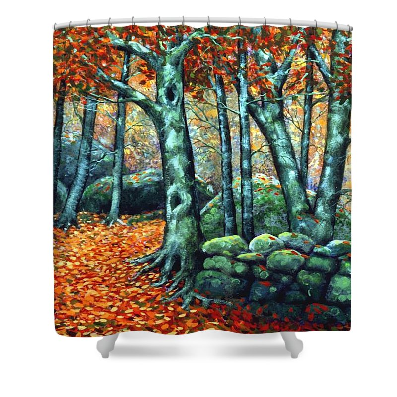 Landscape Shower Curtain featuring the painting Beech Woods by Frank Wilson