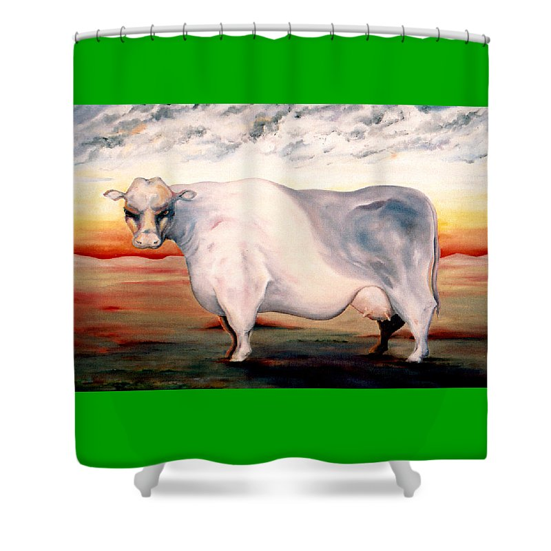 Cow Shower Curtain featuring the painting Beef Holocaust II by Mark Cawood