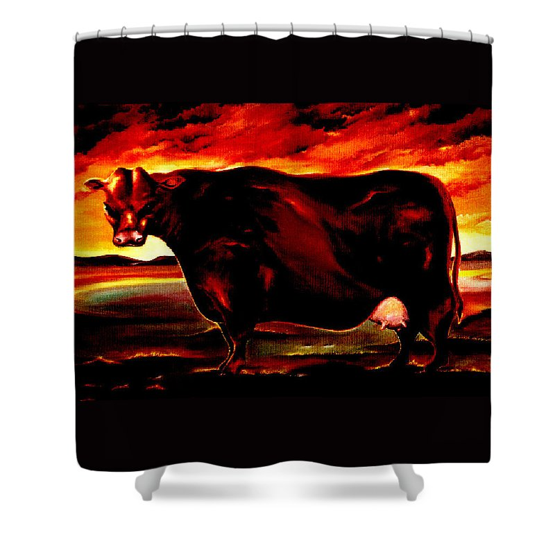 Farm Animal Shower Curtain featuring the painting Beef Holocaust IIi by Mark Cawood