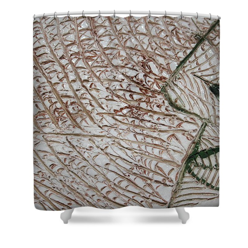 Jesus Shower Curtain featuring the ceramic art Been Thinkin' - Tile by Gloria Ssali