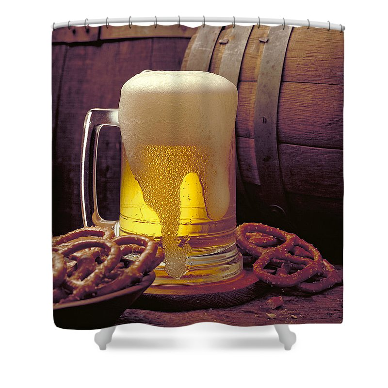 Beer Shower Curtain featuring the photograph Beer And Pretzels by Thomas Firak