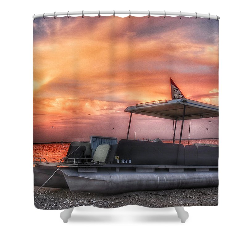Boat Shower Curtain featuring the photograph Beer Can Island Sunset by Allen Williamson