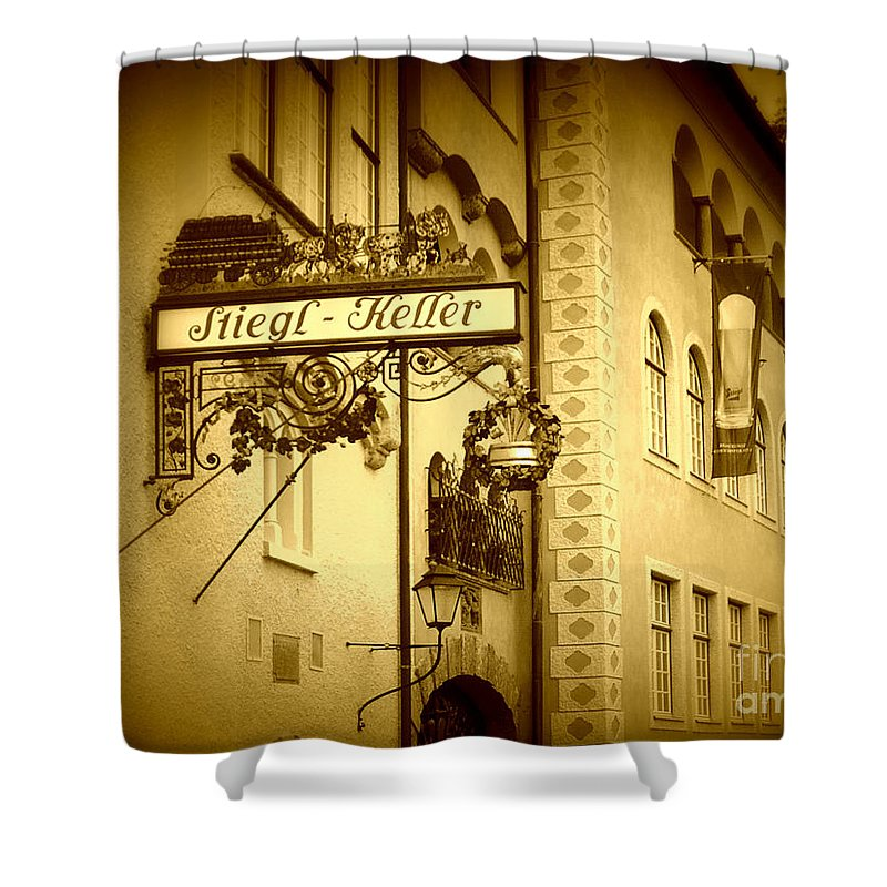 Beer Hall Shower Curtain featuring the photograph Beer Cellar In Salzburg by Carol Groenen
