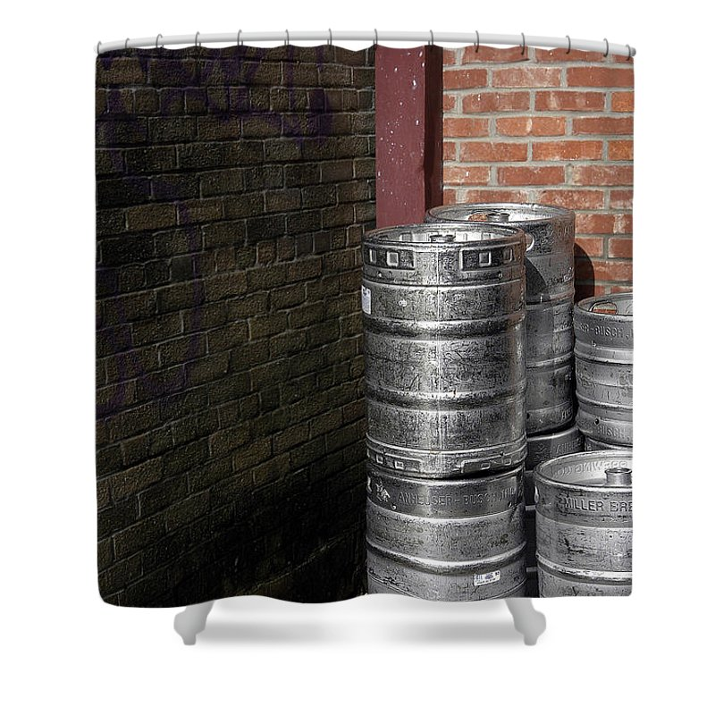 Beerkegs Shower Curtain featuring the photograph Beer Keggs And Graffiti by D'Arcy Evans