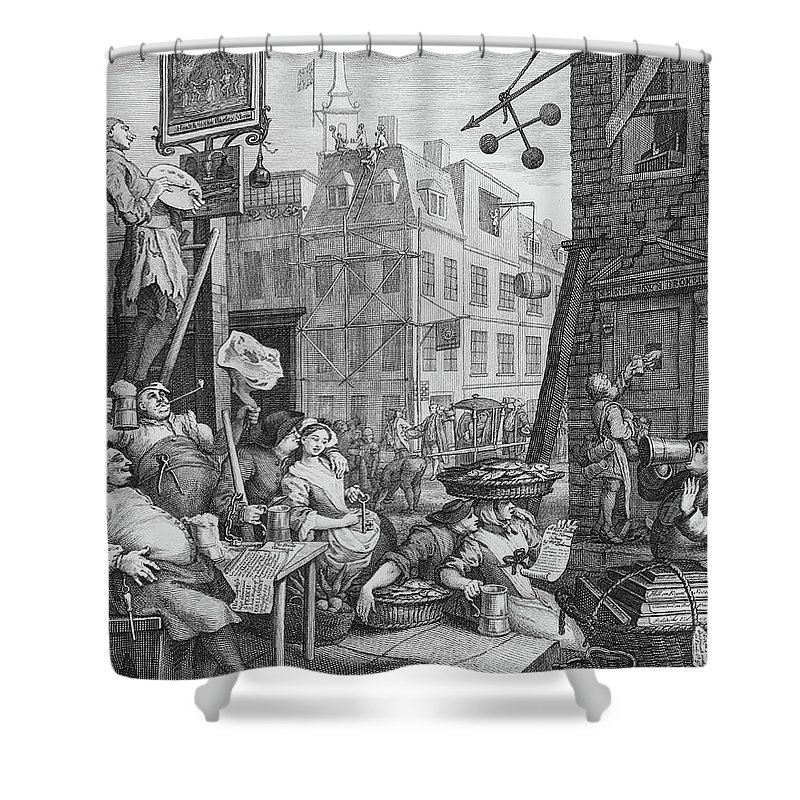 Satire Shower Curtain featuring the drawing Beer Street, 1751 by William Hogarth