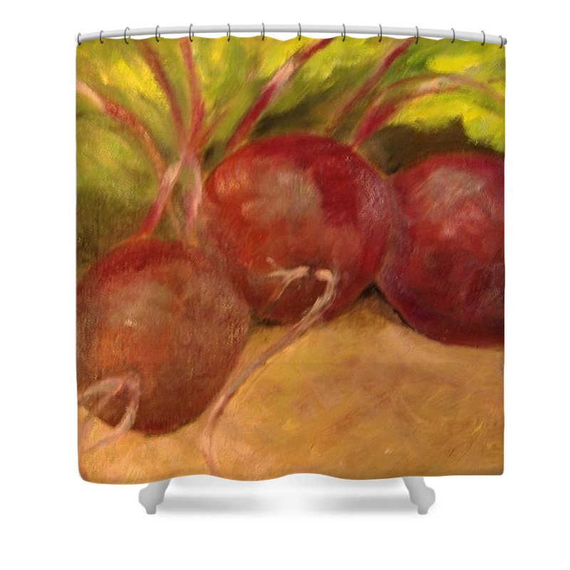 Vegtables Shower Curtain featuring the painting Beet It by Pat Snook