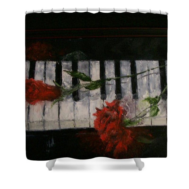 Still Life Shower Curtain featuring the painting Before The Concert by Stephen King