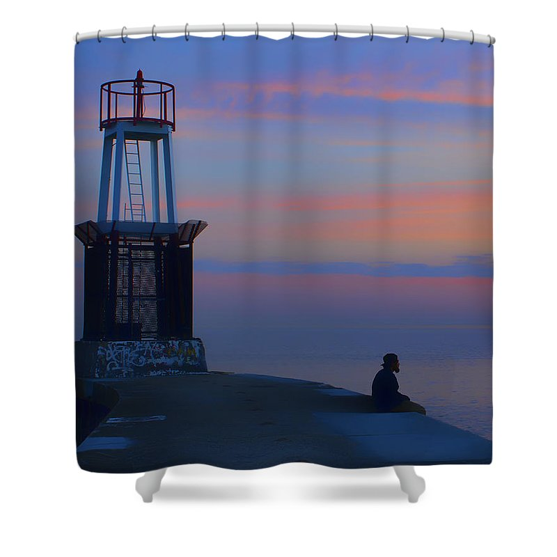 Chicago Shower Curtain featuring the photograph Before The Dawn - Hook Pier Lighthouse - Chicago by Nikolyn McDonald