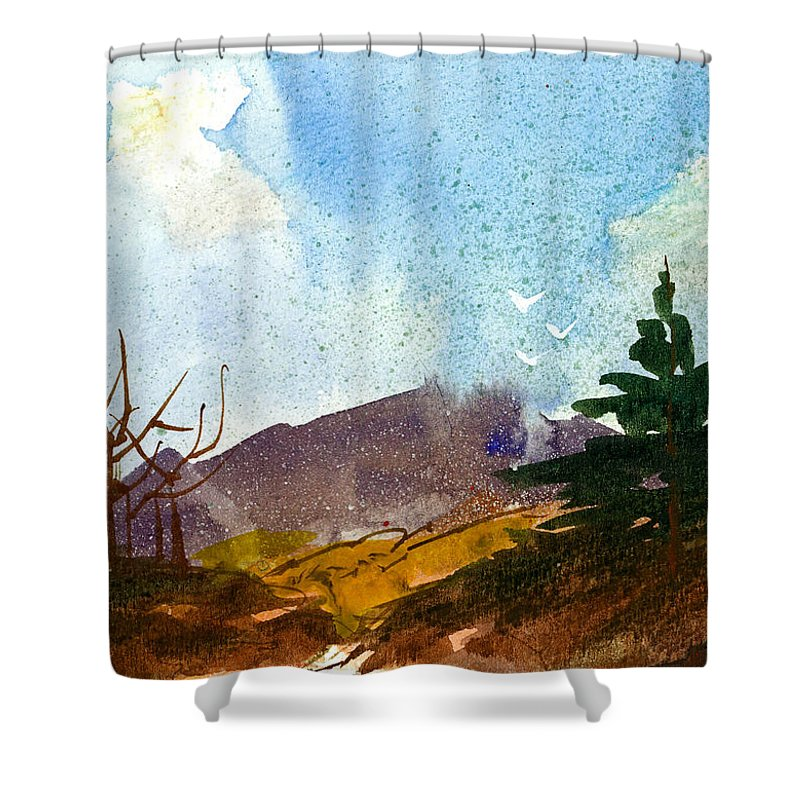 Forest Shower Curtain featuring the painting Before The Storm by Tonya Doughty