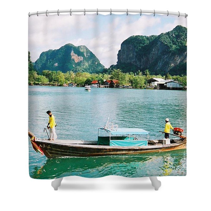 Boats Shower Curtain featuring the photograph Before The Tsunami by Mary Rogers