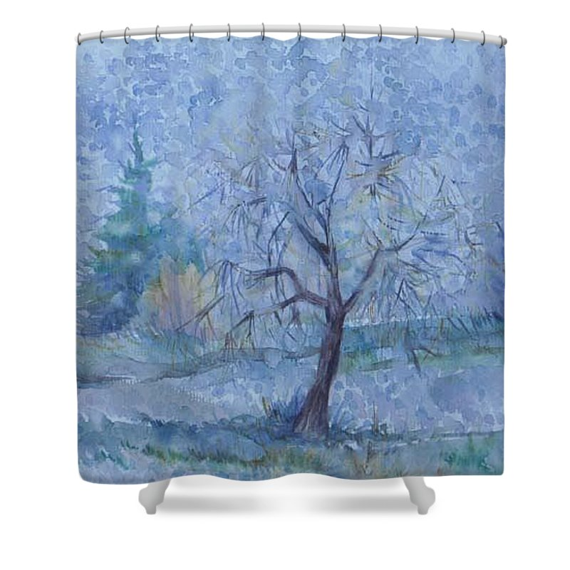 Autumn Shower Curtain featuring the painting Beginning Of Another Winter by Anna Duyunova
