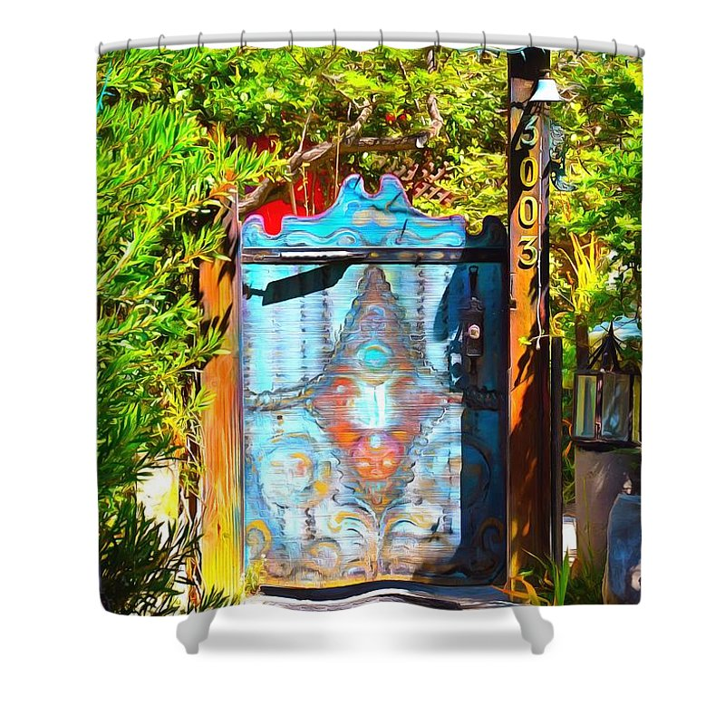 Behind The Blue Door Shower Curtain featuring the painting Behind The Blue Door by Barbara Snyder