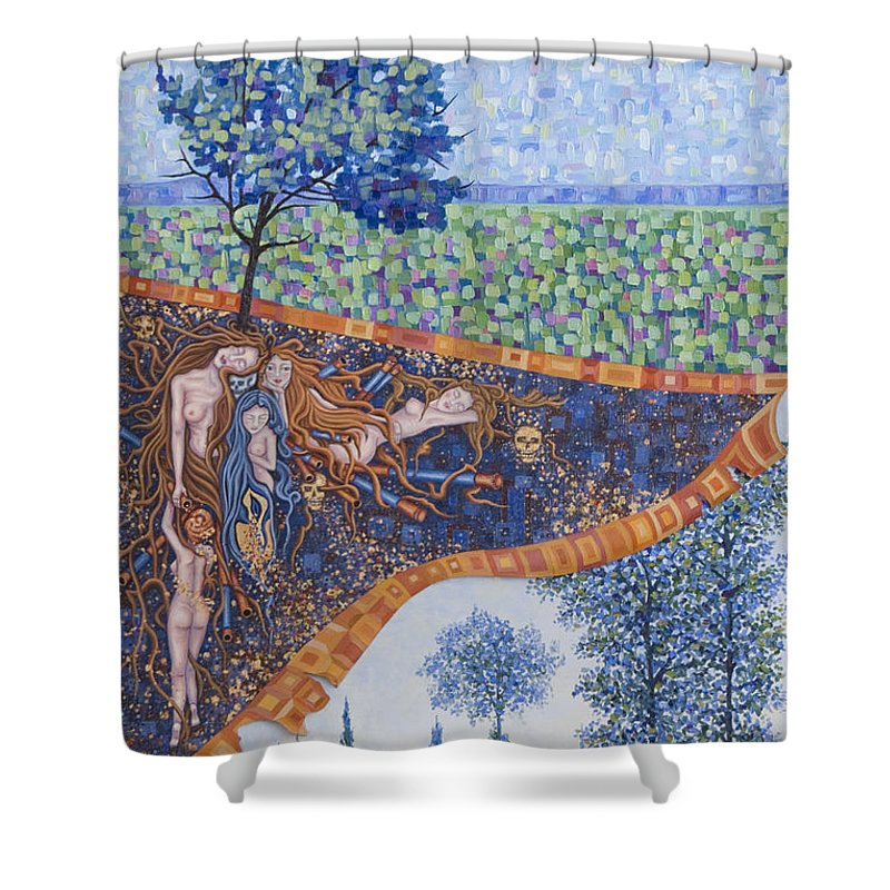 Canvas Shower Curtain featuring the painting Behind The Canvas by Judy Henninger