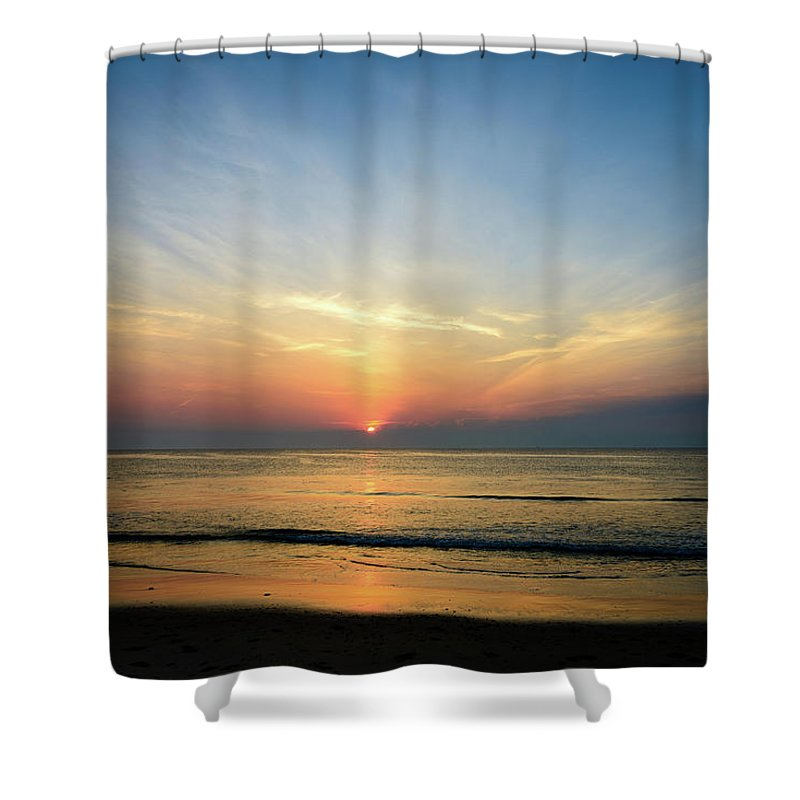 Landscape Shower Curtain featuring the photograph Behind The Clouds by Michael Scott