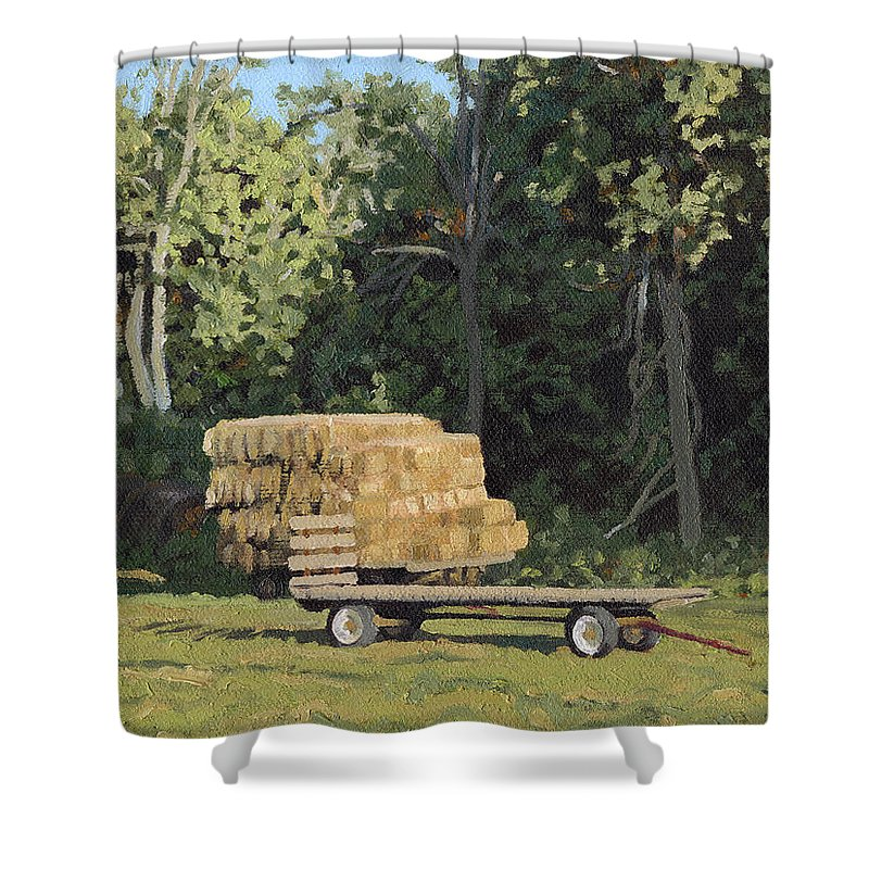 Landscape Shower Curtain featuring the painting Behind The Grove by Bruce Morrison