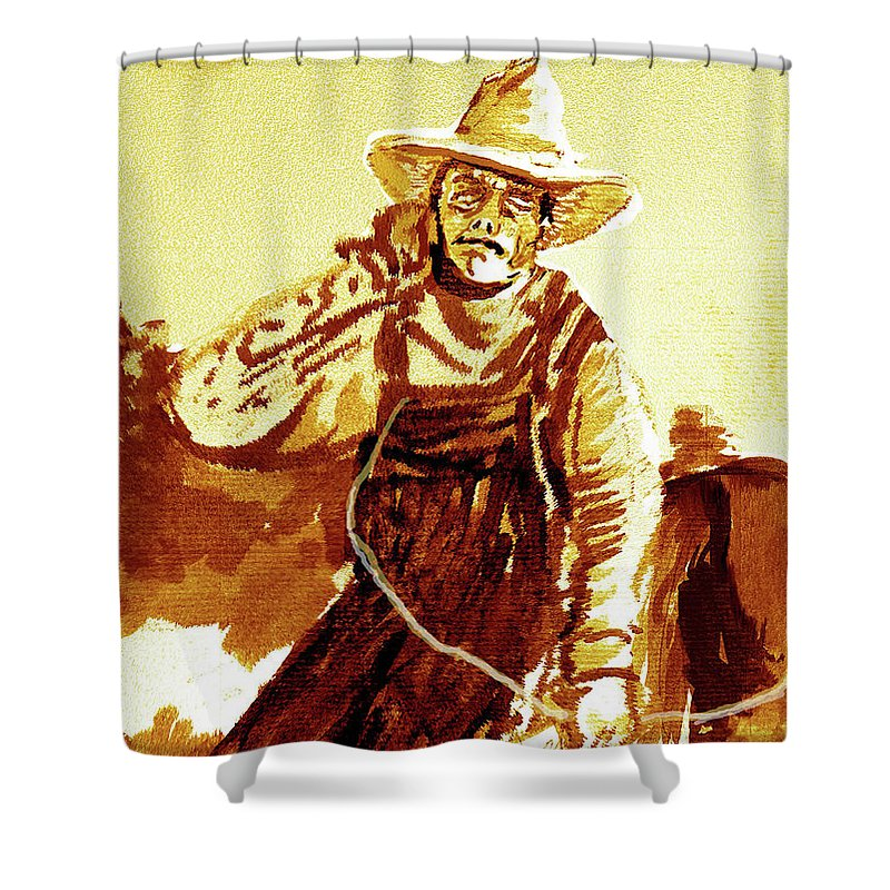 Tobacco Shower Curtain featuring the mixed media Behind The Plow by Seth Weaver