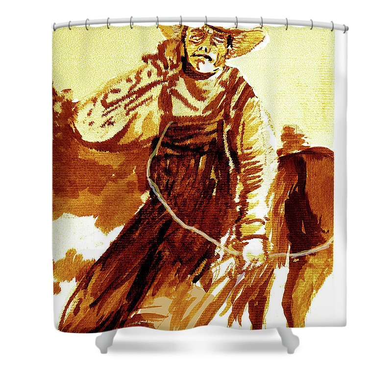 Tobacco Shower Curtain featuring the painting Behind The Plow by Seth Weaver