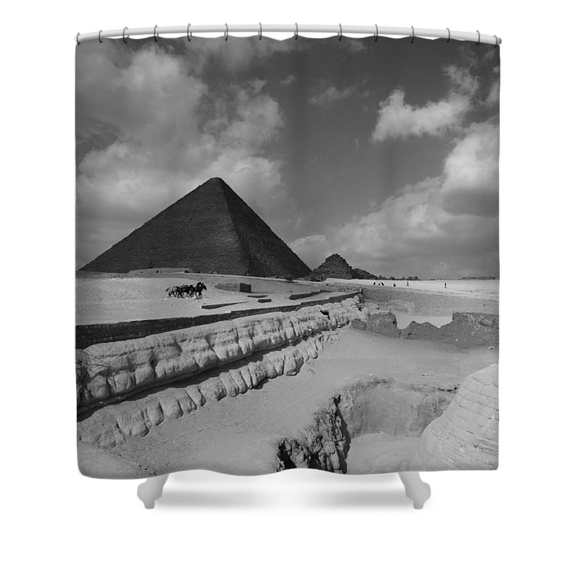 Pyramid Shower Curtain featuring the photograph Behind The Sphynx by Donna Corless