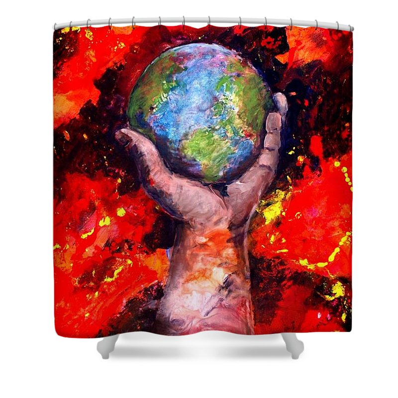 World Shower Curtain featuring the painting Behold by Patty Kingsley